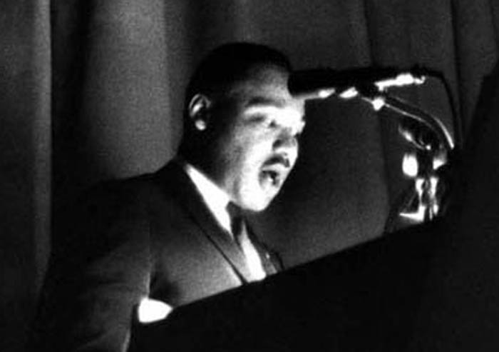 Photo of opening lecture by Martin Luther King Jr. at The New School 1964