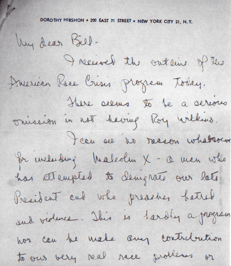 Race Crisis_Hirshon Letter_1964