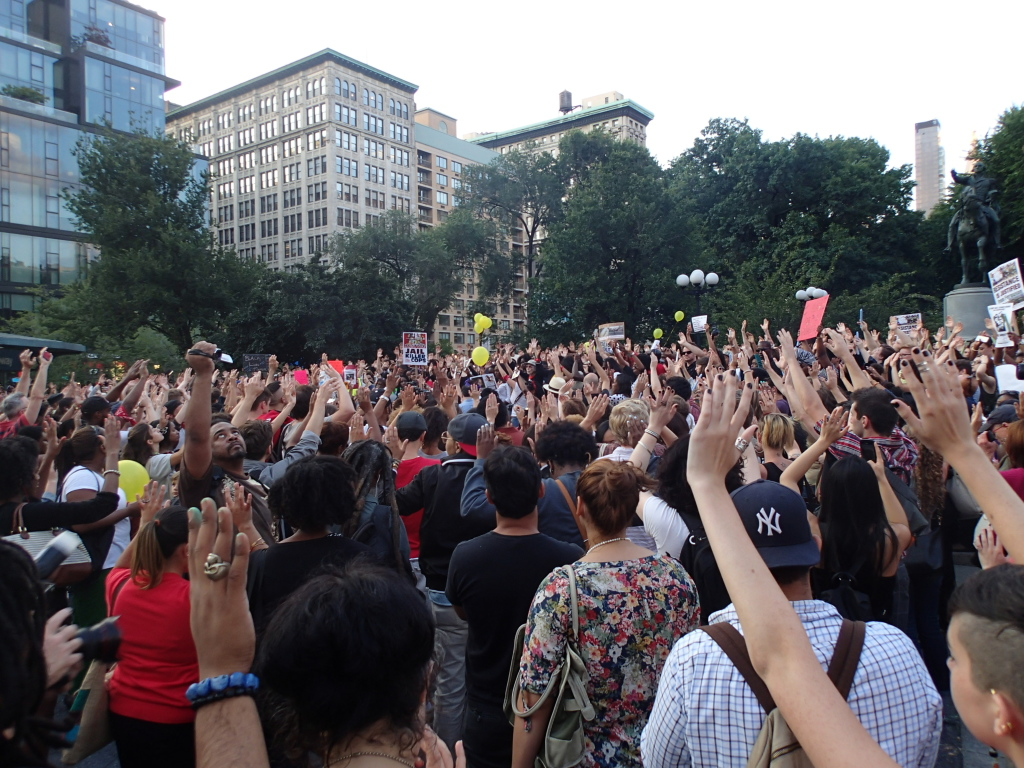 Ferguson protests in Union Square, NYC. Aug 14, 2014