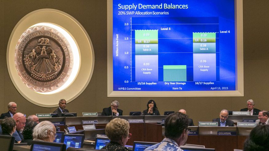 April 13, 2015: Members of the board committee of the Metropolitan Water District, MDW, check two different proposals: Supply Demand Balances, before moving forward on the Level 3 proposal that would cut regional water deliveries by 15 percent beginning this summer. (AP)