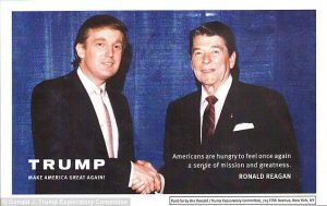 A young Donald Trump and Ronald Reagan.