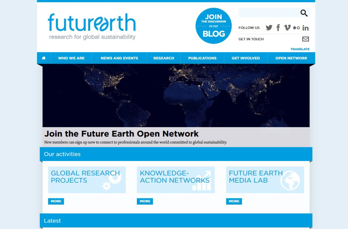 Future Earth homepage